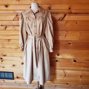 1970s Sears Tan Cotton/Blend Trench Coat